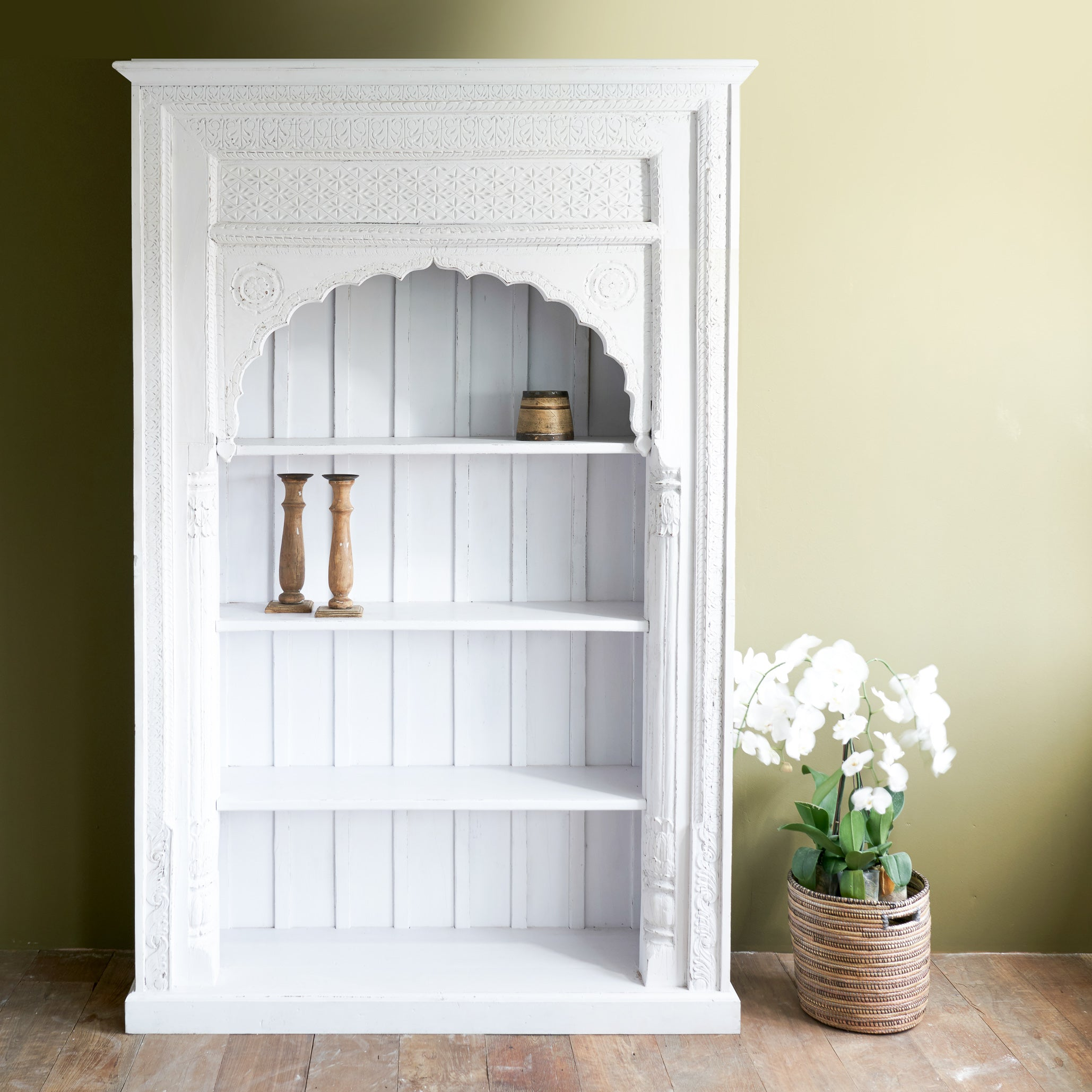 I-153 | White Arched Bookcase