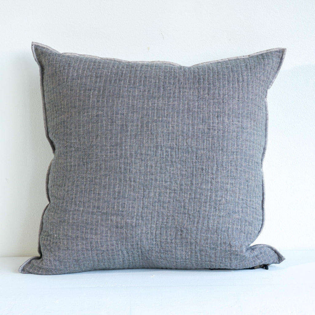 Cushion Quilted Linen - Slate/Cloud