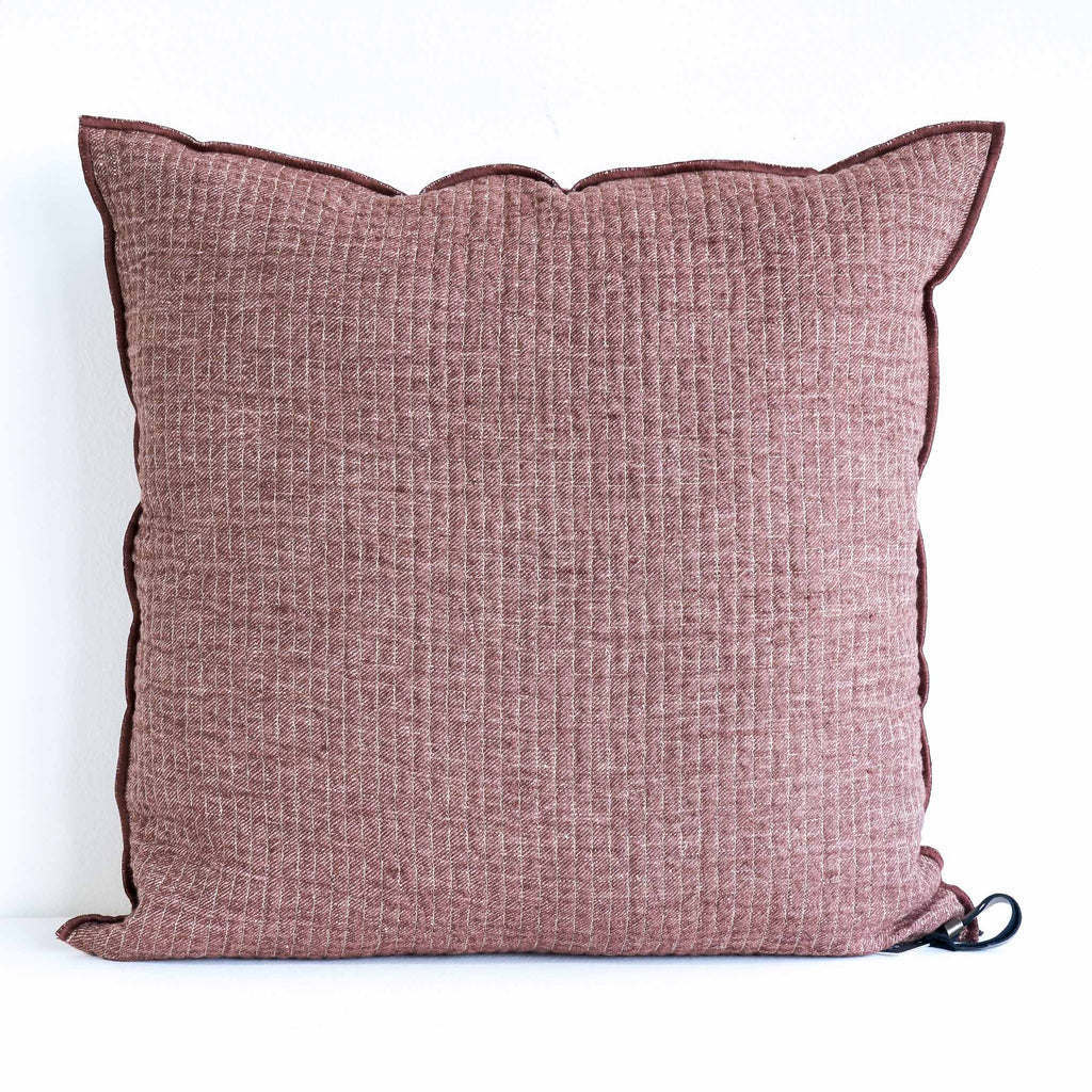 Cushion Quilted Linen - Rosewood