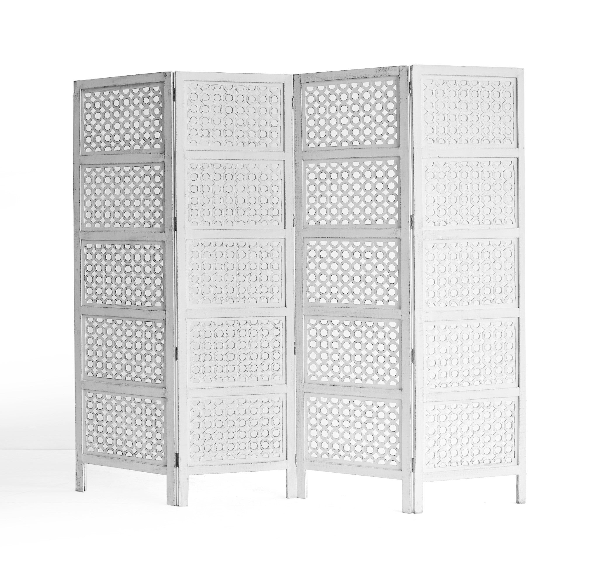 Circles Room Divider | White 4 Panel-Nomad India-Originals Furniture