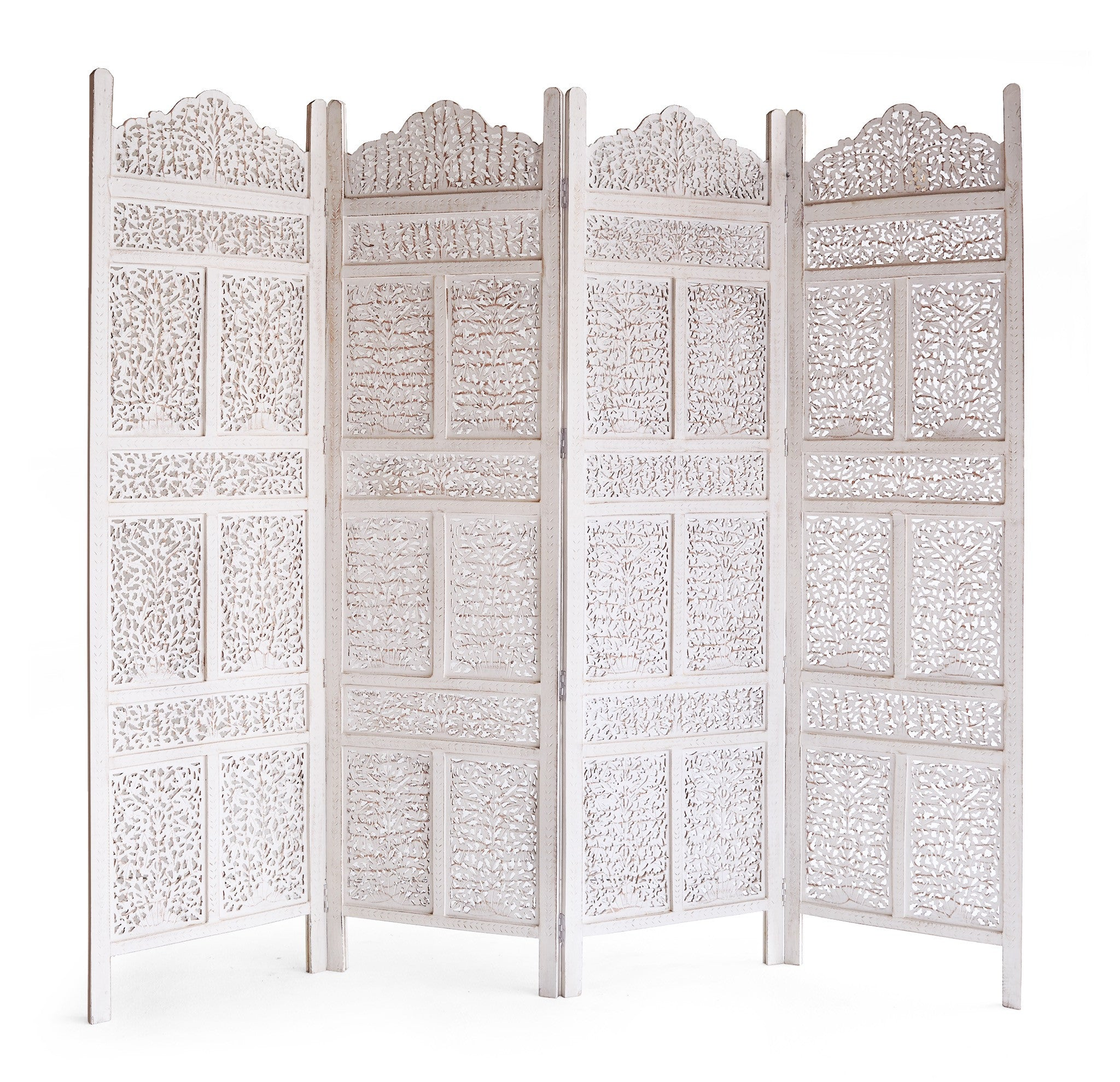 Floral Room Divider | White 4 Panel-Nomad India-Originals Furniture - 2