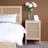 Teak Bedside Table | Rattan - Whitewash - Originals Furniture