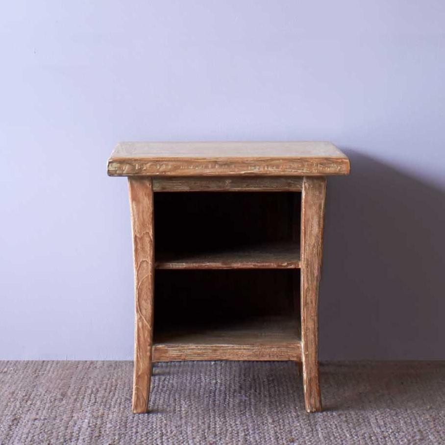 Teak Bedside Table | Short - Whitewash-Nomad Village-Originals Furniture - 1