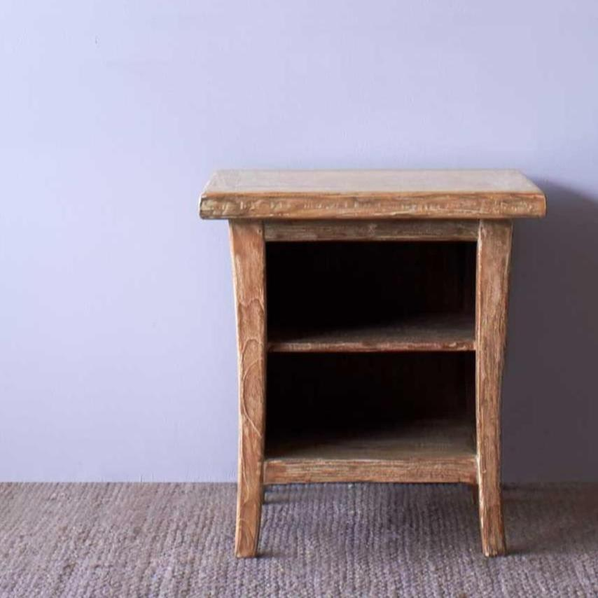 Teak Bedside Table | Short - Whitewash-Nomad Village-Originals Furniture - 3