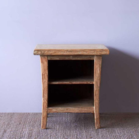 Teak Bedside Table | Short - Whitewash