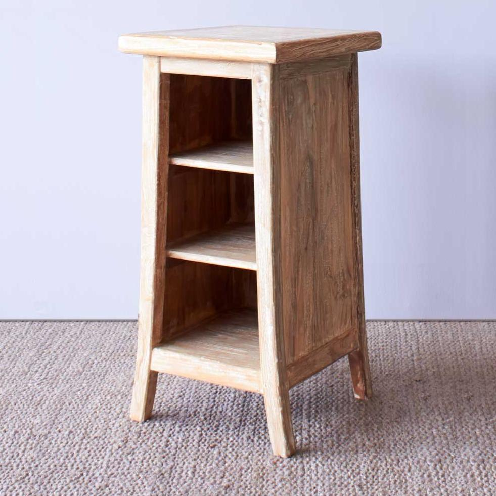 Teak Bedside Table | Tall - Whitewash-Nomad Village-Originals Furniture