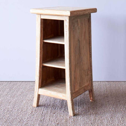 Teak Bedside Table | Tall - Whitewash