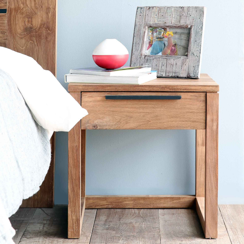 Teak Bedside Table | Light Frame