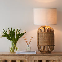 Bamboo Table Lamp $280 Linen Shade