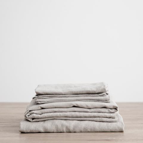 Linen Fitted Sheet Set | Smoke_Grey