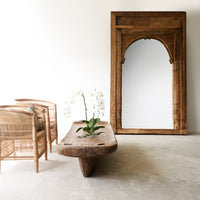 Large Natural Door Frame Mirror with Carvings