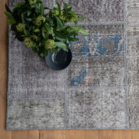 Patchwork Rug |  Charcoal with Blue W232 x L162cm