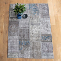 Patchwork Rug |  Charcoal with Blue W232 x L162cm - Originals Furniture