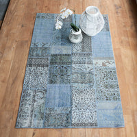 Patchwork Rug | Light-Blue W168 x L255cm