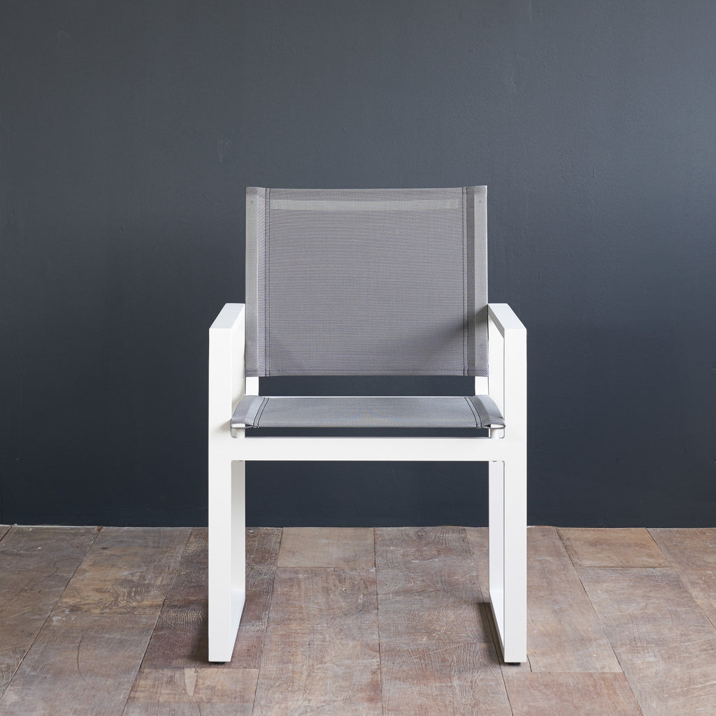 Piano Dining Chair with Arms | White