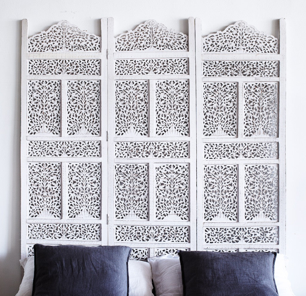 Floral Room Divider | White 3 Panel-Nomad India-Originals Furniture - 1