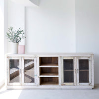 Ledge Sideboard with Glass Doors | 4 Doors / 3 Shelves