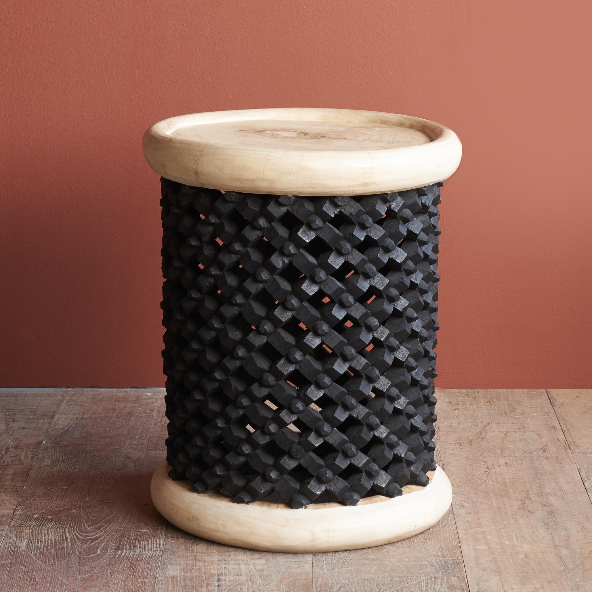 Bamileke Stool | Black-Natural