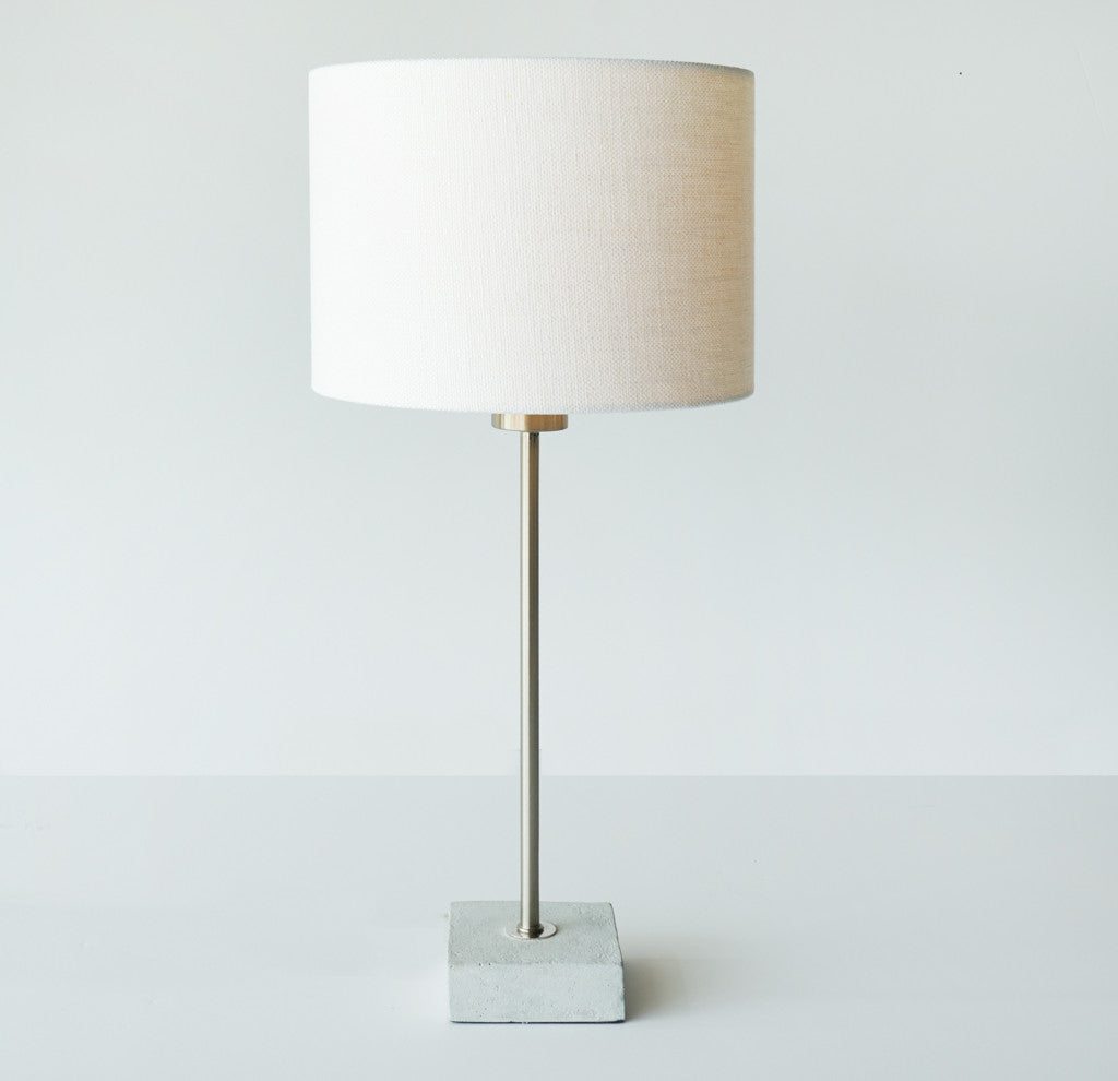 Koln Cement Table Lamp | White Shade