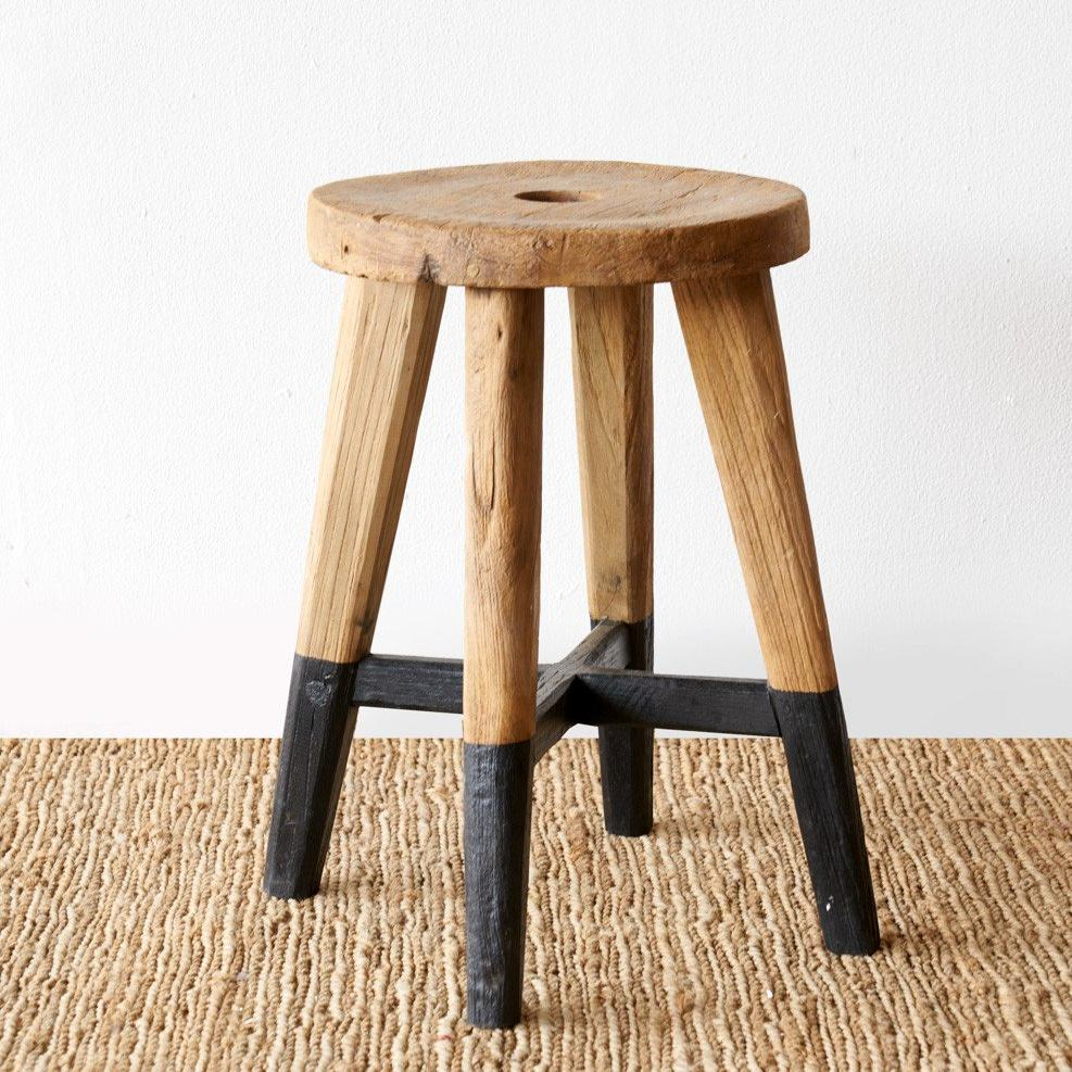 Java Round Stool | Black Legs