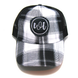 Nebraska Hat - Plaid Trucker with NE Distressed Patch
