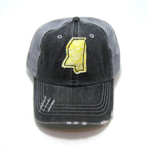 Mississippi Distressed Trucker Hat - Many Fabric/Cap Combos