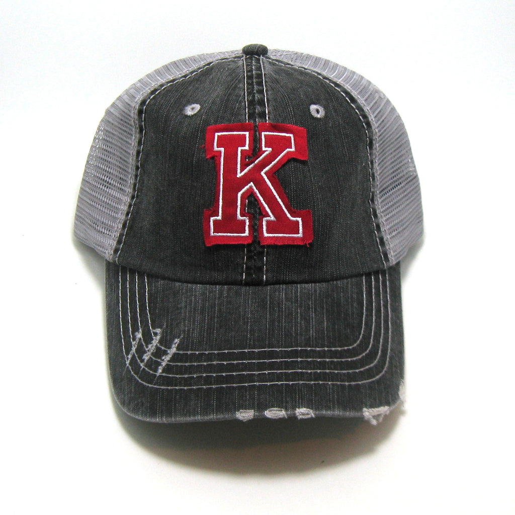 Varsity Block Initials - Distressed Trucker Hat - Distressed Fabric Patch