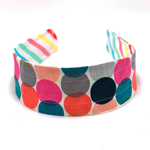 Reversible Hard Headband - Bright Stripes & Retro Dots