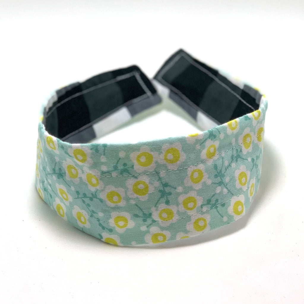 Reversible Hard Headband - Black White Gingham & Yellow Flowers