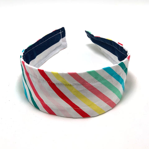Reversible Hard Headband - Navy Stripes & Bright Stripes