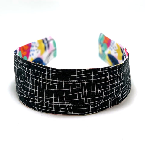 Reversible Hard Headband - Big Bright Floral & Black Hatch