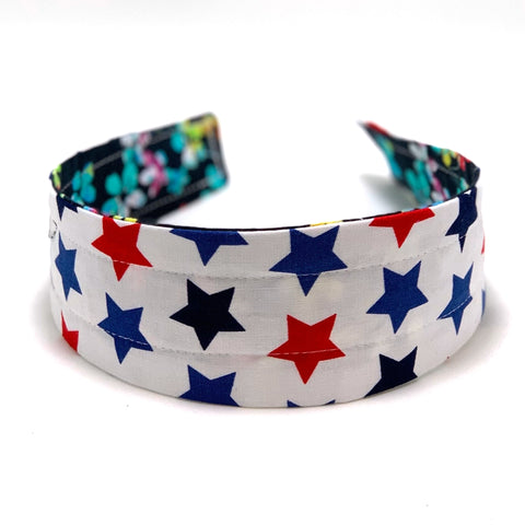 Reversible Hard Headband - Americana Stars & Watercolor Floral