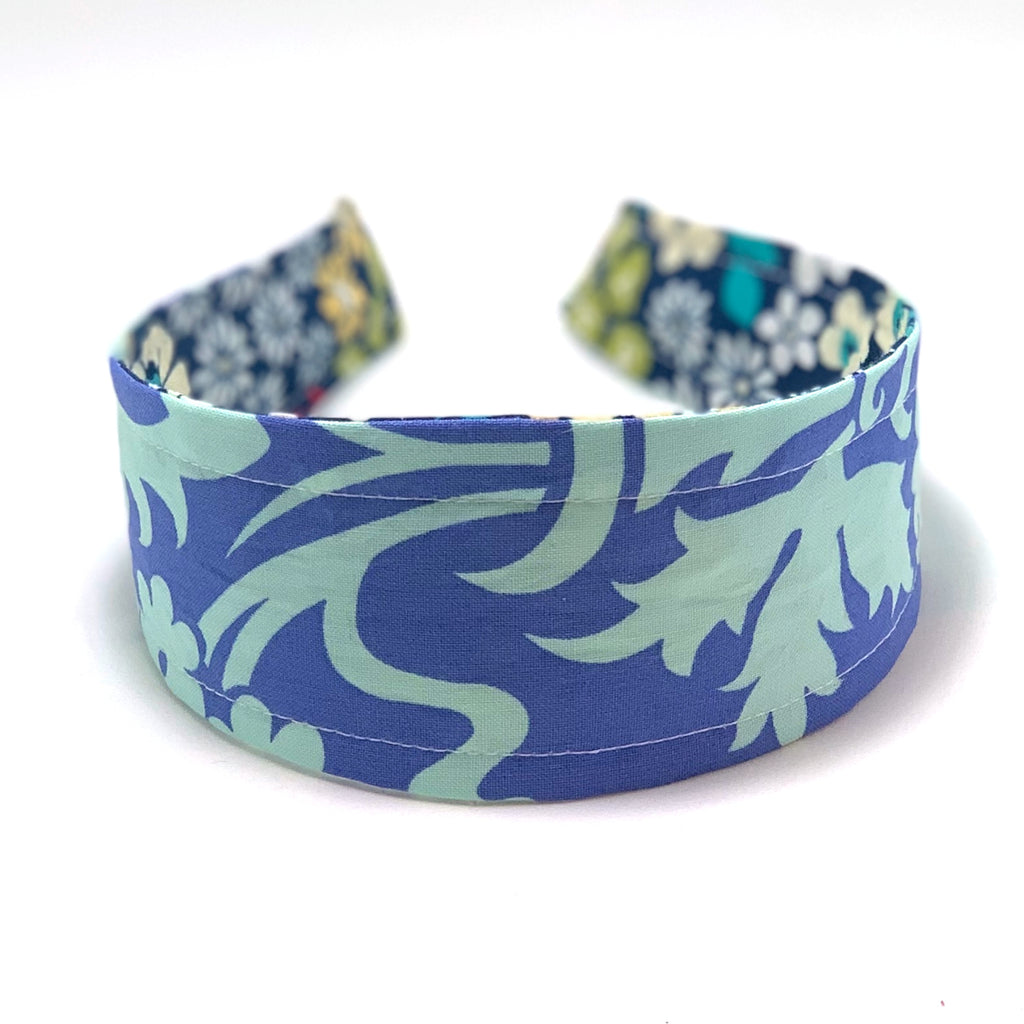 Reversible Hard Headband - Blue Damask & Petite Floral