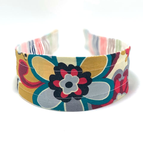 Reversible Hard Headband - Vintage Bloom & Wavy Stripes
