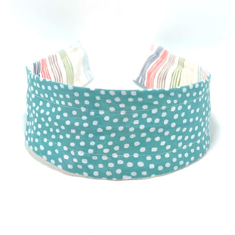 Reversible Hard Headband - Wavy Stripes & Aqua Dots