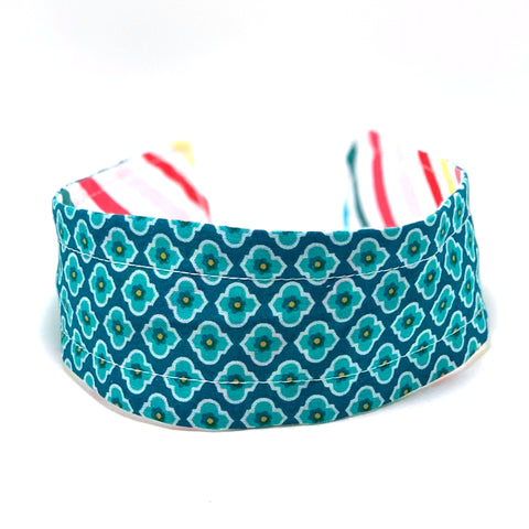 Reversible Hard Headband - Aqua Mosaic & Bright Stripes
