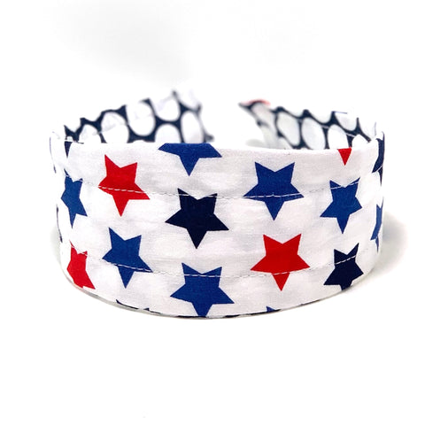 Reversible Hard Headband - Americana Stars & Big White Dots on Navy