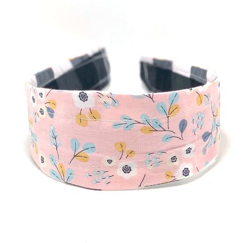 Reversible Hard Headband - Black White Gingham & Pink Floral