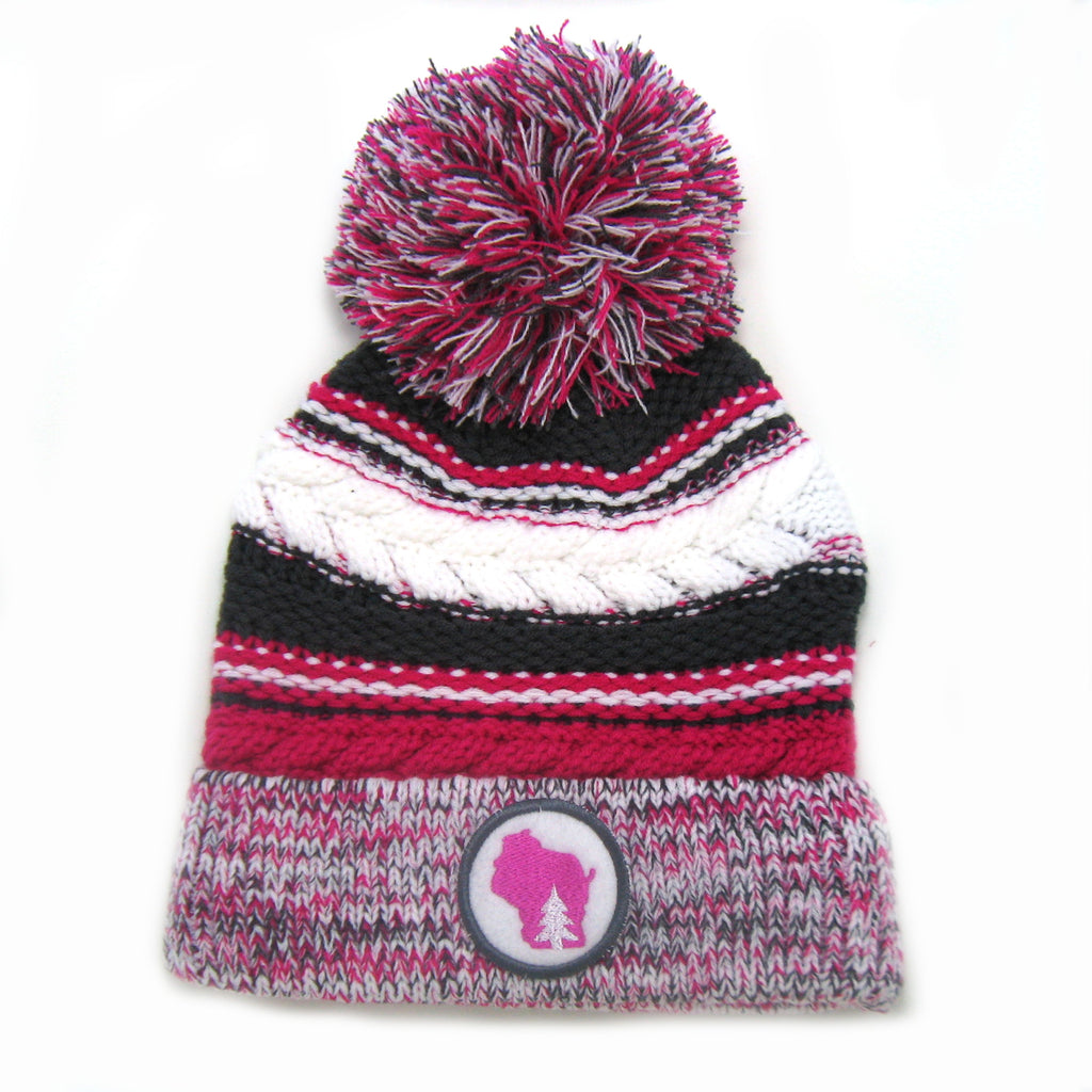 Chunky Knit Pom Pom Beanie - Wisconsin gray and pink