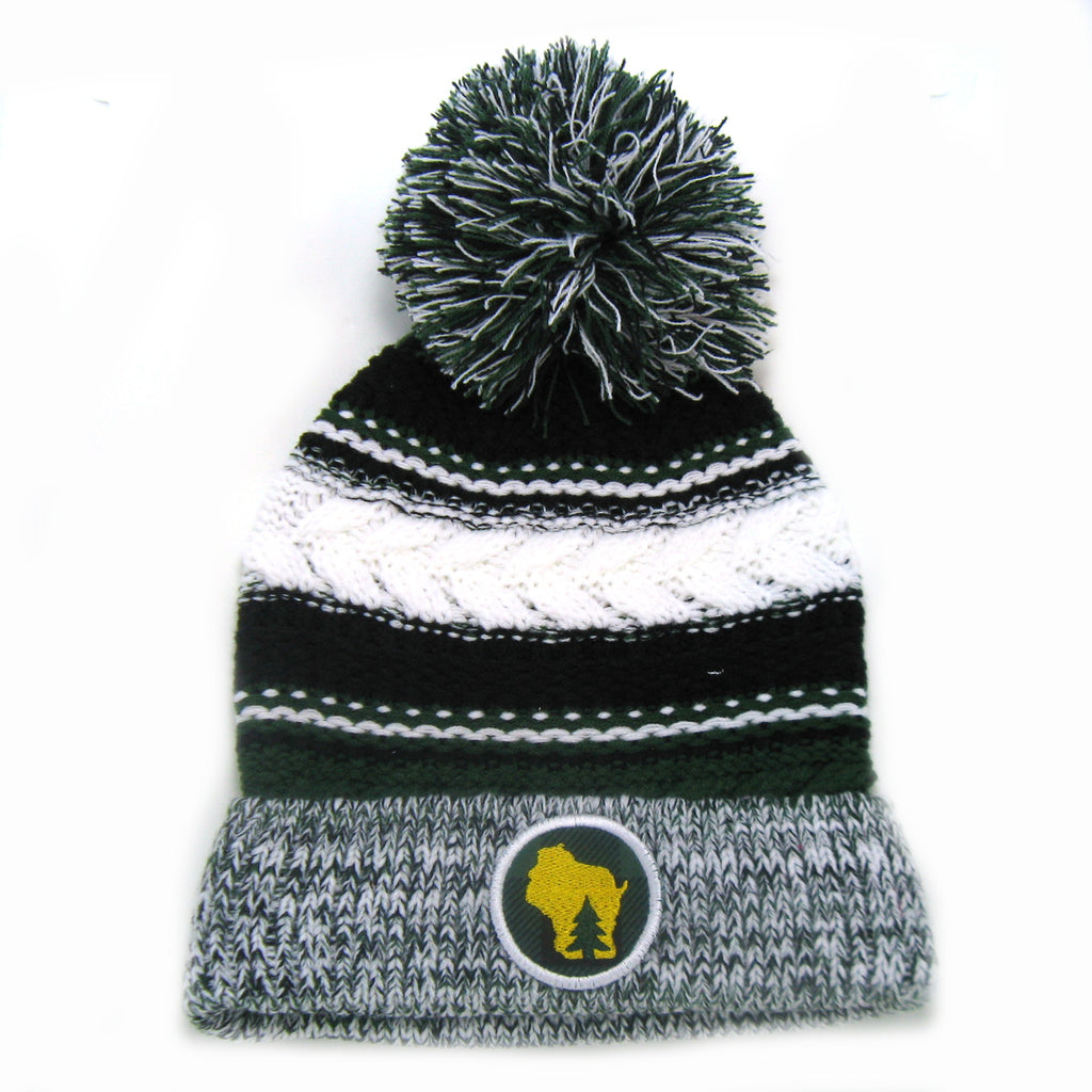 Chunky Knit Pom Pom Beanie - Wisconsin Forest Green and Black