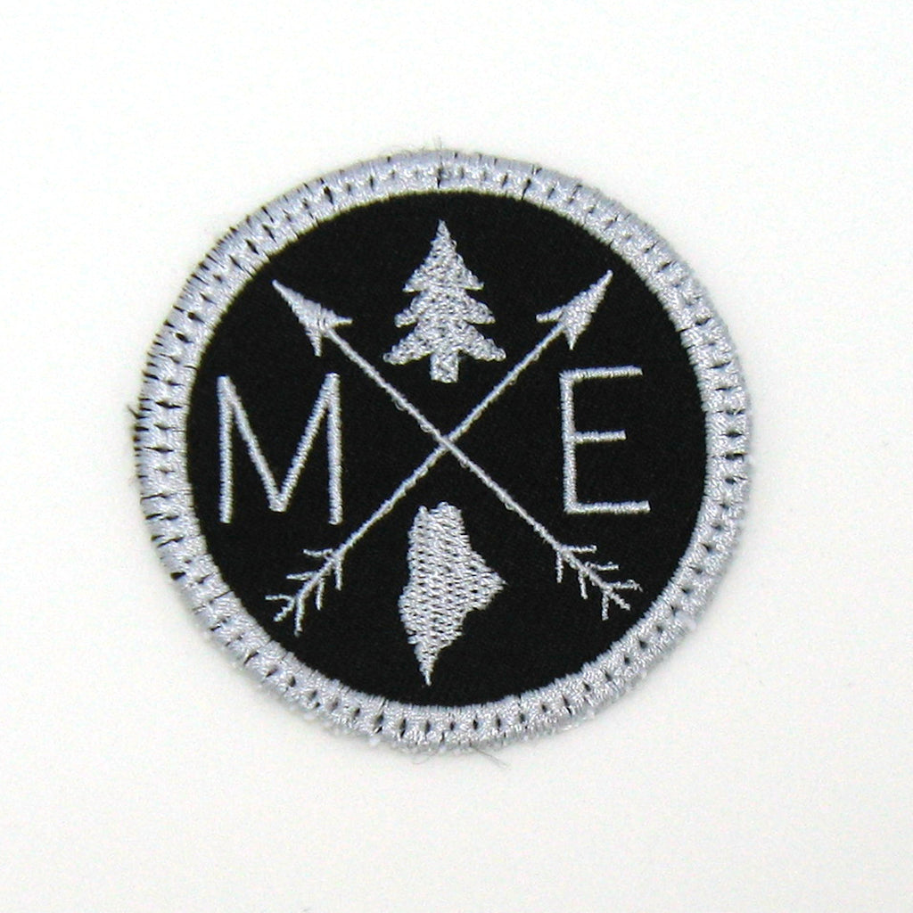 Silver & Black Iron-on Patch - Arrow Compass - All 50 states available