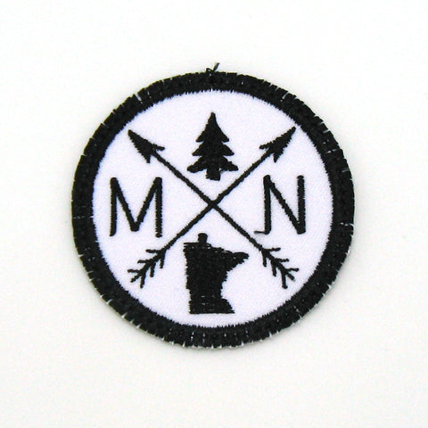 Black & White Iron-on Patch - Arrow Compass - All 50 states available