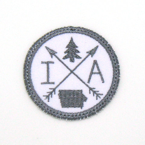 Gray & White Iron-on Patch - Arrow Compass - All 50 states available