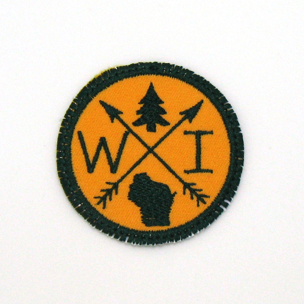Green & Yellow Iron-on Patch - Arrow Compass - All 50 states available