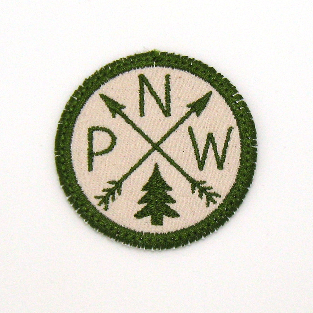 Olive Green and Cream Iron-on Patch - Arrow Compass - All 50 states available