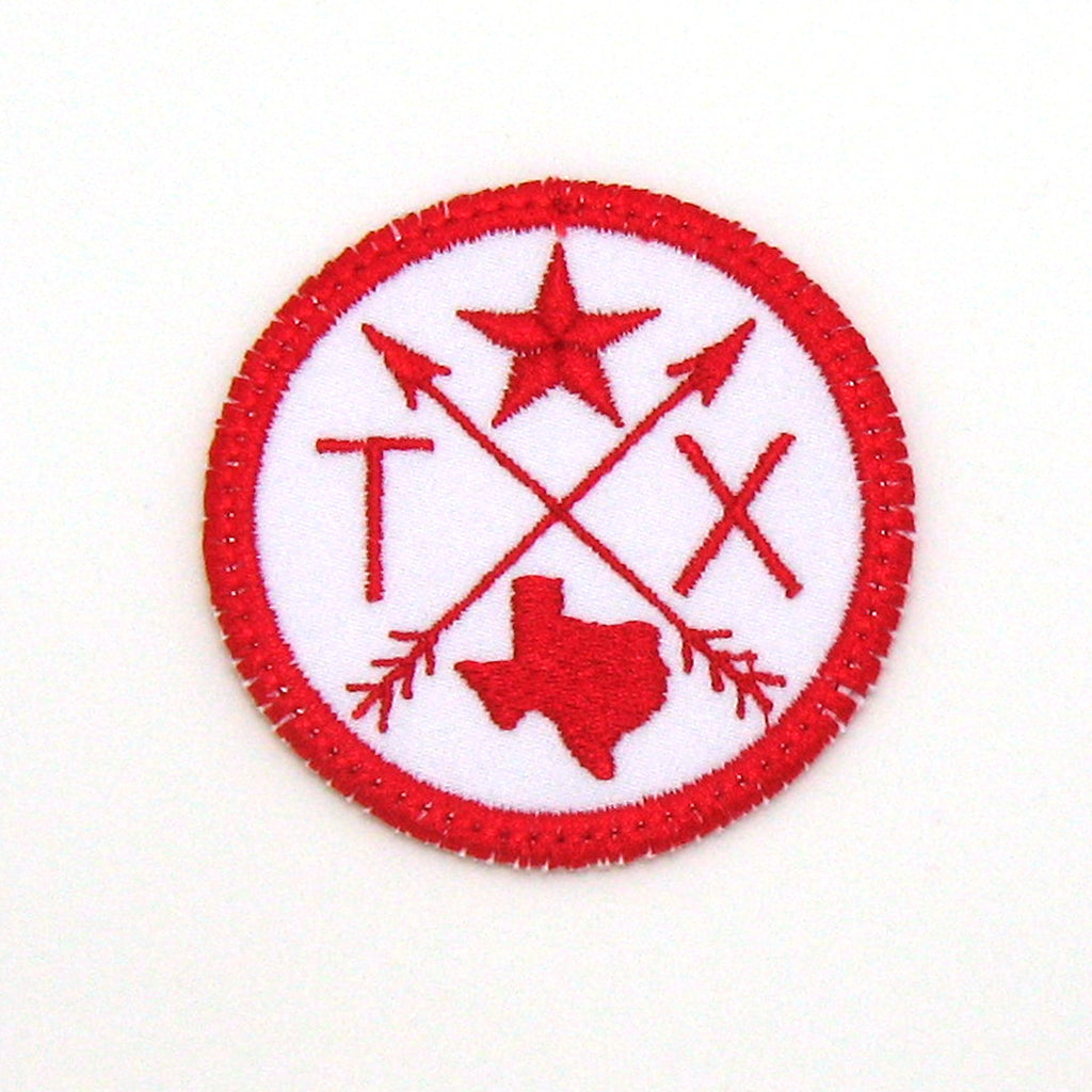 Red and White Iron-on Patch - Arrow Compass - All 50 states available