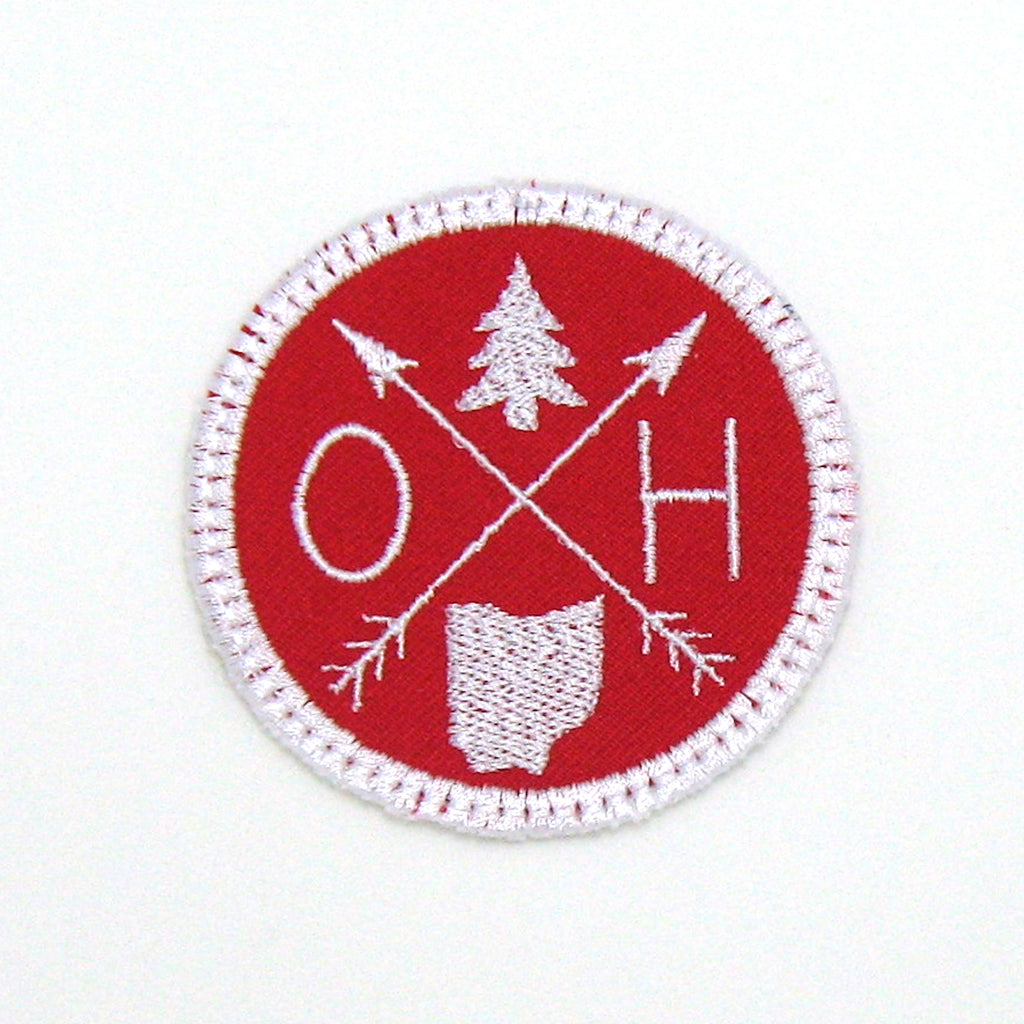 White & Red Iron-on Patch - Arrow Compass - All 50 states available
