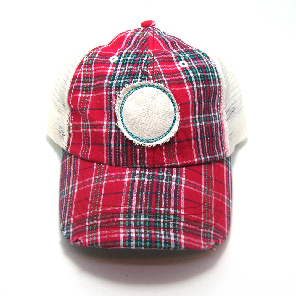 Iowa Hat - Plaid Trucker with IA Distressed Patch