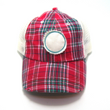 Oklahoma Hat - Plaid Trucker with OK Distressed Patch