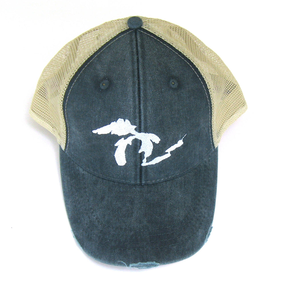 Navy Blue Distressed Snapback Trucker Hat - Great Lakes